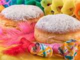 Donut Berliner Doughnut or Krapfen with Carnival Decoration