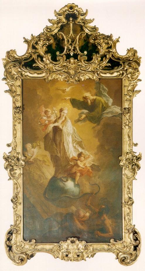 Das Bild zeigt das Hochaltarbild, Maria Immakulata – die Unbefleckte Empfängnis Mariä
